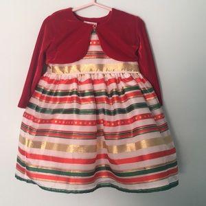 Holiday dress with velvet cardigan